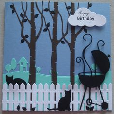 B035 Hand made birthday card using Memory Box Party Grill, Modern Landscape  and Birch Tree dies and IO Cat dies