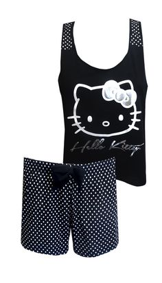 Hello Kitty Black and White Polka Dot Shortie Pajama This is the best of Hello Kitty in classic black and white! This set is ju...