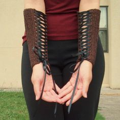 Gauntlets  Chocolate Brown with Black Ribbon  by DragoninKnots, 406 kr ()