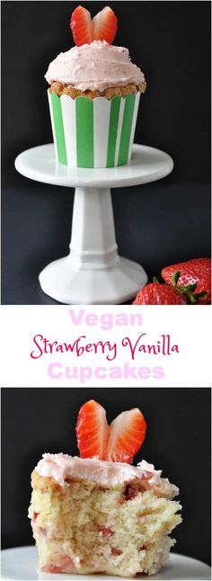 Homemade vegan strawberry vanilla cupcakes. Light and fluffy and made with fresh berries.