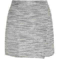 J.Crew Origami wrap-effect metallic tweed mini skirt ($44) ❤ liked on Polyvore featuring skirts, mini skirts, bottoms, faldas, grey, wrap mini skirt, tweed skirt, grey tweed skirt, j. crew skirts and gray mini skirt