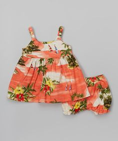 Coral Tropical Babydoll Dress & Bloomers - Infant & Toddler