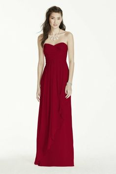 f67dcd9f4c Lauren or Jaime- Strapless Crinkle Chiffon Dress with Cascade Skirt