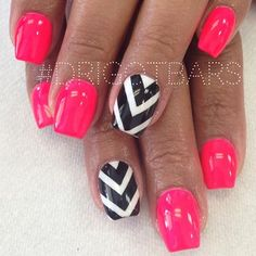 pink with black and white chevron nail art design