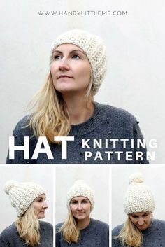 Easy ribbed hat free knitting pattern using Lion Brands thick and quick yarn in fisherman. A great pattern for beginners.