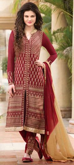 HEAD-TO-TOE - wear #Embroidery we can't take our eyes off from. Have a look!  #SalwarKameez #Oxblood #IndianWedding #lace #onlineshopping #partywear