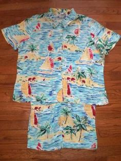 WOMENS M/L HAWAIIAN print BLOUSE top s/s SHIRT, SHORTS set OUTFIT, CUTE!