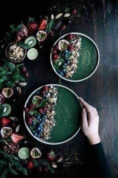 super green smoothie bowl This ultra-healthy blend features all the best greens from spinach to cucumber, plus hints of coconut paste, nuts, and dates.