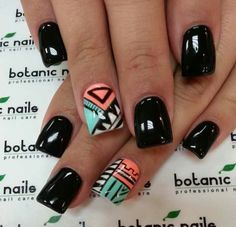 Aztec black nails  | See more nail designs at http://www.nailsss.com/acrylic-nails-ideas/2/