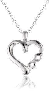 "Sterling Silver Diamond ""Infinite Love"" Symbolic Heart with Infinity Sign Pendant Necklace (0.01 cttw, I-J Color, I2 Clarity), 18"""