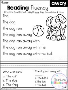 Free Kindergarten Reading Fluency and Comprehension Set 1