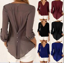 V neck Button Back Ladies Long Sleeve Hot Sale Shirt Womens Chiffon Tops Blouse