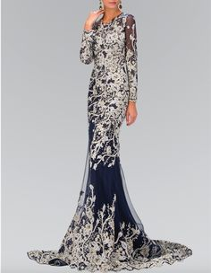 - Scoop Neck - Long Sleeves - Navy Color Tulle - White Floral Detailed Embroidered Gown - Crystal Embellishment - Gold Color Threading