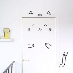 Sisi le décalque béat chat porte / Wall decal pour portes, fenêtres ou placards / Nursery décor / chat Vinyl autocollant