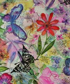 Justine Valla Textile Design: Handpainted sketchy floral and butterfly print