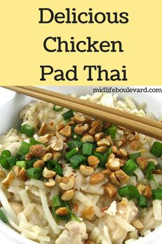Recipe for delicious and skinny chicken pad thai.