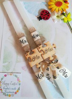 λαμπάδες για ζευγάρια Mr & Mrs  #Πάσχα #λαμπάδες #Easter #handmadegreece #Sophiesworld #mr_mrs