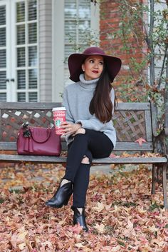 Burgundy wool hat* high rise distressed black jeans* grey turtleneck sweater* Burgundy double zip thea satchel* Vince Camuto Franell western booties* fall fashion* petite fashion* fall outfits* burgundy wool floppy hat* click the photo for outfit details! Wool Hat Outfit, Black Hat Outfit, Floppy Hat Outfit, Burgundy Outfit, Booties Outfit, Ankle Booties, Floppy Hats, Ankle Shoes, Fall Fashion Petite