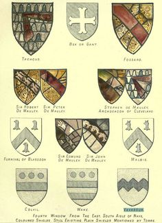 Drawings of the arms of Vavasour from York Minster, specifically the 4th window from the east on the south side of the nave, from page 105 of The Heraldry of York Minster (1890).