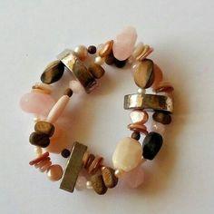 Rose Quartz Wood Bead Freshwater Pearl Silver Stretch Bracelet SILPADA #Silpada #Beaded