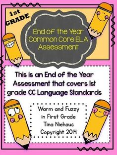 It's the end of the year.  Time to assess some of the common core standards taught this year.  This packet includes an assessment of 60 questions covering 1st grade Common Core ELA Standards.  I assessed 1 page a day.  Lots of questions for little first graders in one day. It covers: * short vowels * consonant blends * Punctuation * long vowels * verbs, nouns, and adjectives * vowel teams * digraphs ( sh,th,wh,ch) * verb tenses