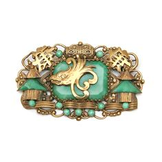 Max Neiger Pagoda & Eagle Chinese Style Brooch