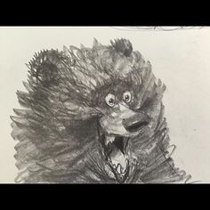 """Daily doodle: Started scribblin with the only pencil on the desk and this guy just showed up. Got good news right after he was """"discovered"""" too. Happy accident.  Good ole' 4B pencil #graphite #tombowpencil #bears #animalart #scribbles #happy #funny #characters #personality #dailydoodles"""