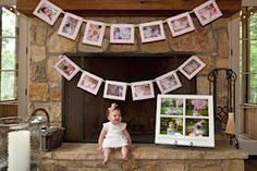 first birthday party watch me grow photo banner. I'd use a different color, but cute idea!
