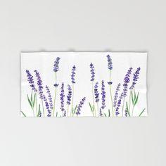 Lavender+watercolor+flower+blue+color++Hand+&+Bath+Towel+by+Color+And+Color+-+$28.00