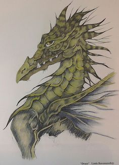 'Draco' from Linda Ravenscrofts Fairy and Fantasy Art 2. Coloured with Faber Castell Pitt pastels