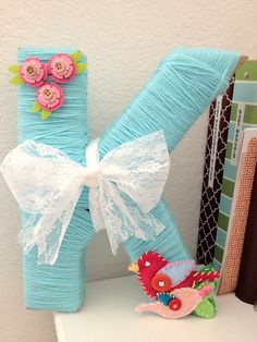 the Three Little Birdies: {Project Nursery} Yarn Letter Yarn Wrapped Letters, Yarn Letters, Diy Letters, Yarn Crafts, Diy And Crafts, Room Crafts, Teal Nursery, Nursery Room, Nursery Decor