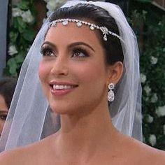 Kim Kardashian's Wedding Hair, Veil, and Headpiece