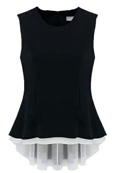 Black Sleeveless Back Zipper Ruffles Pleated Blouse