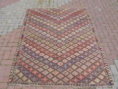 "Turkish CICIM Kilim Rug Natural Wool 59"" x 85"" | eBay"