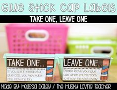 Do your students loose the glue stick caps, causing the glue sticks to dry out and become wasted? Try out this management system with your class! Organising Tips, Organisation Hacks, Classroom Labels, Classroom Ideas, Bin Labels, Glue Sticks, Class Management, Students, Cap