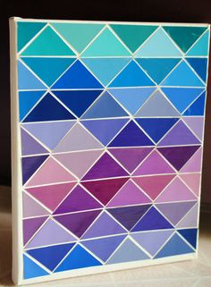 Items similar to Crystalline - Geometric Paint Chip Art (Cool Colors) on Etsy - Paint sample crafts - Paint Sample Art, Paint Swatch Art, Paint Swatches, Paint Samples, Paint Chip Cards, Chip Art, Do It Yourself Crafts, Diy Wall Art, Cute Crafts