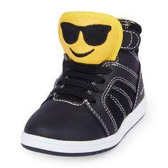 s Toddler Boys Cool-Guy Emoji Hi-Top Jet Sneaker - Black - The Children's Place