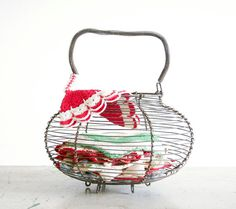 Vintage Wire Egg Basket / Farmhouse Decor by RobertaGrove on Etsy, $22.00