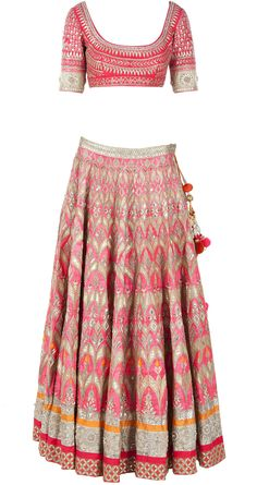 Coral gota pati embroidered lehenga by ANITA DONGRE. http://www.perniaspopupshop.com/whats-new/anita-dongre-coral-gota-pati-embroidered-lehenga-andc1013c680.html