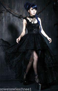 Punk-Rave-Gothic-Lolita-Ballkleid-Kleid-Victorian-Dress-Steampunk-Tuell-Rose-Q174