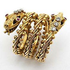 LALAOUNIS snake ring in 18kt Yellow Gold & Diamonds