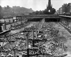 Demolition in progress at the Waverley Market. 1974