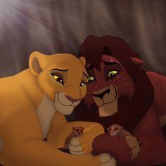 Kovu and Kiara with cubs Le Roi Lion 2, Le Roi Lion Disney, Simba Disney, Disney Cats, Disney Lion King, Kiara Lion King, Kiara And Kovu, Lion King 3, Lion King Fan Art