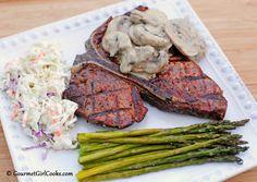 Gourmet Girl Cooks: Steak Topped w/ Mushrooms in Creamy Dijon Sauce, Asparagus & Easy Cole Slaw