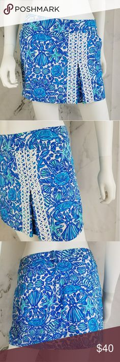 Lilly Pulitzer Sailor's Valentine Skort White embroidery. Shorts have been cut out but still all around great skirt. Lilly Pulitzer Shorts Skorts