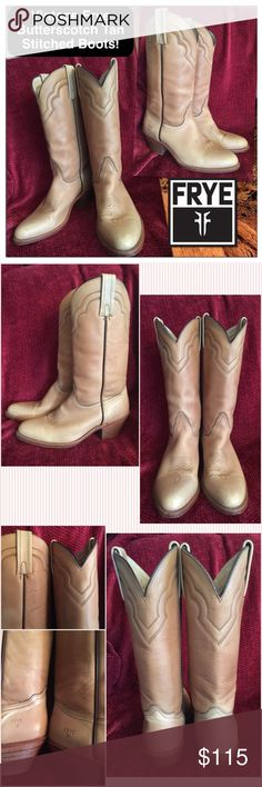 """Vintage Cool Frye Butterscotch Tan Stitched Boots! Vintage Frye Butterscotch Tan Stitched Boots! Features: Made in USA, cool vintage 80's piece, natural distressed butterscotch tan leather, top stitched design, light distressed leather, stacked heel, western cowboy style & leather upper. 4 1/5"""" across bottom, 2 1/2"""" heel, shaft height: 15"""", 14 1/2"""" around calf. Size 10 1/2D men or Sz 12 women. Some minor exterior marks with minor wear on the heel. Cool natural light distressed look. VG…"""