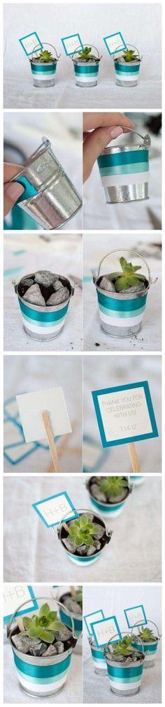 Cómo hacer souvenirs para bodas originales con suculentas, macetas pequeñas y piedras