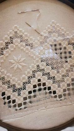 Notice the cotton layer under the hoop to save your hardanger. - Her Crochet Hardanger Embroidery, Embroidery Stitches, Embroidery Patterns, Hand Embroidery, Cross Stitches, Loom Patterns, Drawn Thread, Thread Work, Bordado Popular