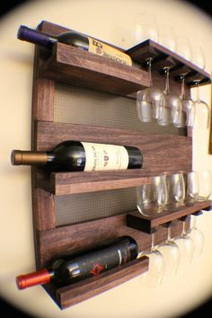 Stunning Dark Cherry Stained Wall Mounted Wine Rack with Shelves and Decorative Dark Bronze Metal Mesh, Wine and Liquor Shelf and Cabinet