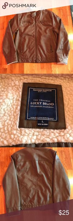 "Youth Large ""Lucky"" Leather Coat/Jacket Youth Large Brown, very soft Suede/Leather Jacket. Excellent like new condition. Great for young teen boy or girl. Lucky Brand Jackets & Coats Jean Jackets"